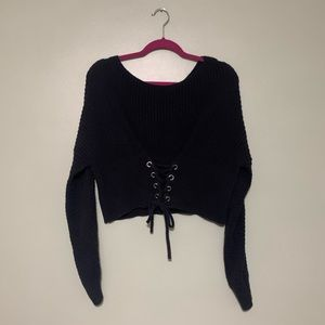 Black Kendall & Kylie Cropped Sweater